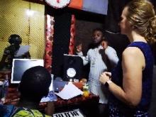 Del, Yeremia, Josias and Carole in the studio